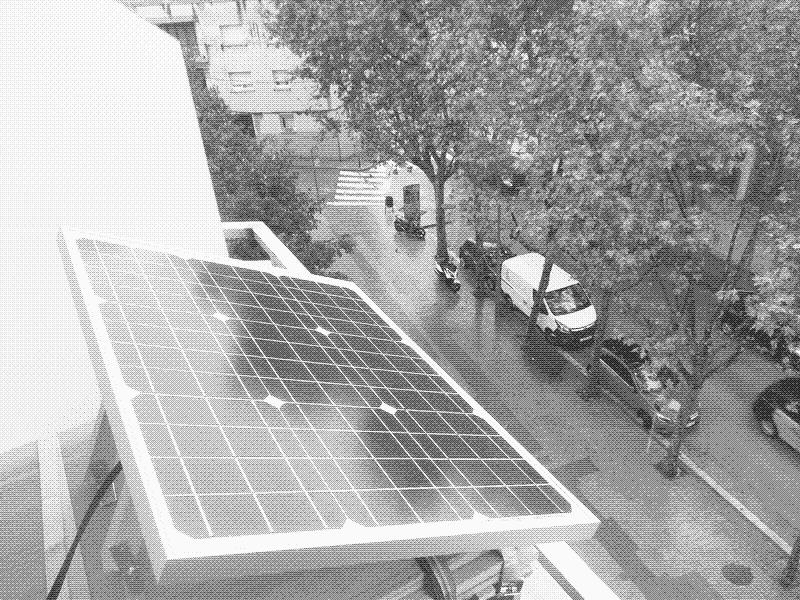 The 50W panel, on top of it is a 10W panel of a previously built off-grid lighting system.